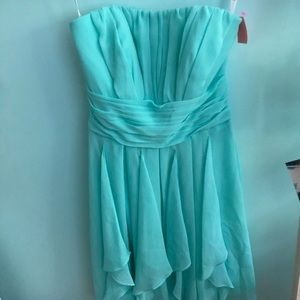 DAVID'S BRIDAL Strapless Turquoise Dress